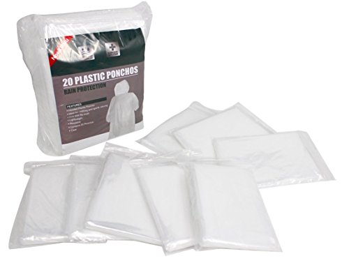 Noe&Malu Disposable Emergency Clear Rain Poncho for Adults - 20 Pack