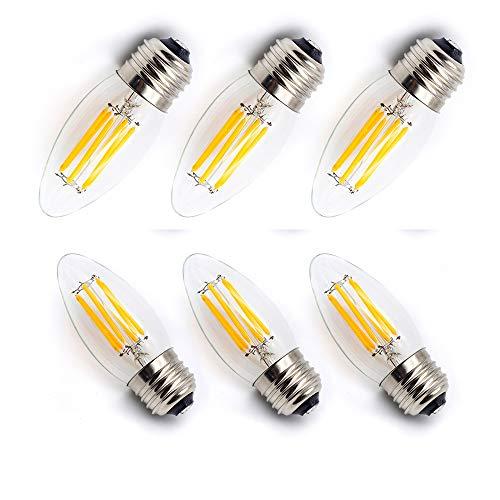 シャンデリア電球 60W形相当 電球色 2700k E26口金 エジソン電球 LED クリア電球 6W 660lmフィラメント LED電球 蝋燭型 C35 クリアタイプ (6個入り)