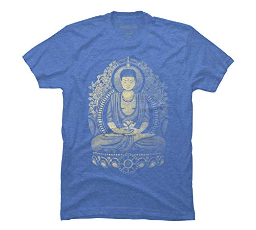 Design By Humans Gautama Buddha Weathered Men's Medium Ocean Blue Heather Graphic T Shirt