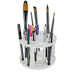 top 10 art brush holder US Art Supply Round plastic brush holder with some drawing holes – for 50 brushes…