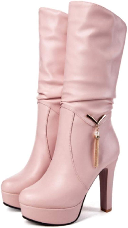 LVYING Womens Winter Boots Square Heels Platform Slip On Metal Tassel Fringe Mid Calf Booties