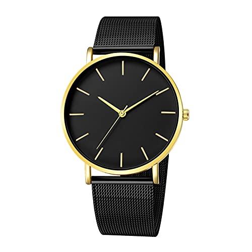 Dreafly Reloj de cuarzo con banda de malla de metal, reloj de pulsera analógico de cuarzo ultrafino, esfera redonda y elegante