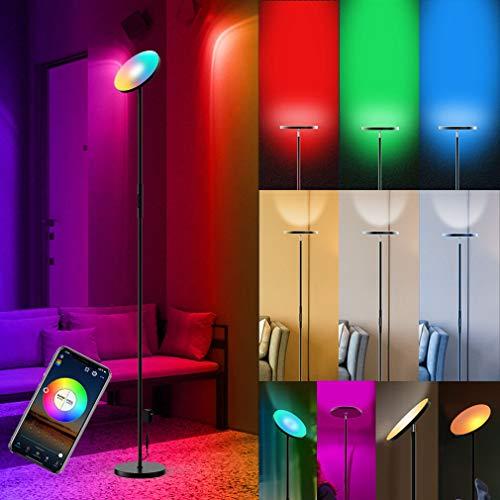 Smart RGB Lámpara de Pie LED Regulable Luz de Pie Inteligente WiFi Lámpara de Suelo Multicolor Lámpara de Salón 20W Inteligente Control Táctil/Vocal con Interruptor y Enchufe Dormitorio Alexa RGBW 24W