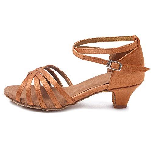 HROYL Zapatos de Baile/Zapatos Latinos de satín Marrón Niñas ES-201 37 EU