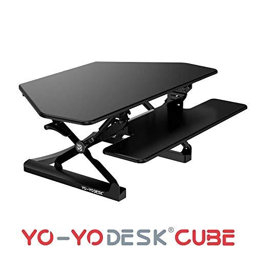 Yo-Yo DESK CUBE (Schwarz). Sitz-Steh-Schreibtisch Steharbeitsplatz Computertisch Aufsatz für Eckschreibtisch [105 cm breit]