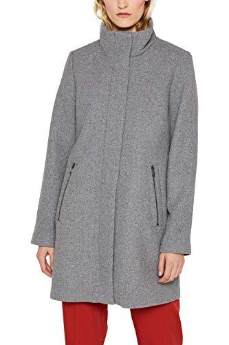 ESPRIT Damen 099Ee1G014S Mantel, Grau (Light Grey 4 043), Small (Herstellergröße: S)