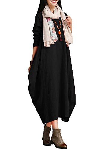 Romacci Damen Kleid Solide Baumwolle Tasche Rundhalsausschnitt Lose Baggy Vintage Maxi Kleid, Schwarz, XX-Large