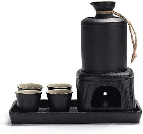 LYYF Oriental Retro - Juego de 8 copas de vino de cerámica negra con bandeja y calentamiento, textura pintoresca para servicio frío/calor, el mejor regalo para familia y amigos