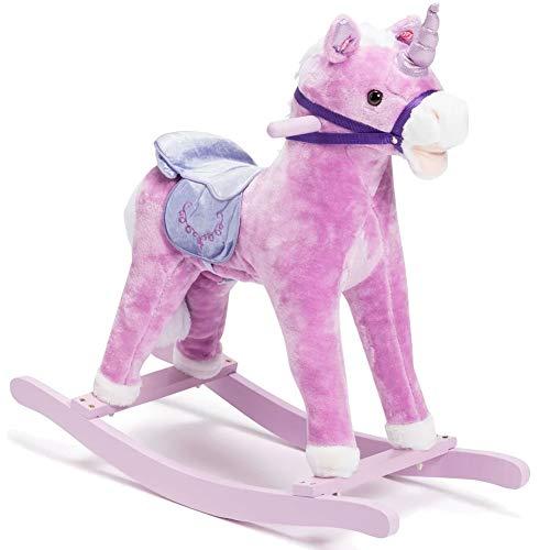 BAKAJI Cavallo a Dondolo per Bambini con Suoni Realistici Nitrisce e Muove la Bocca Struttura in Legno e Tessuto Peluche di qualità Giochi Infanzia (Rosa)