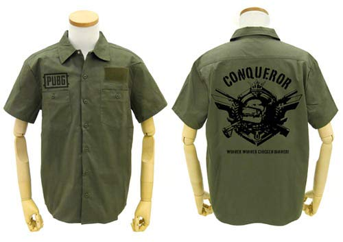 PLAYERUNKNOWN'S BATTLEGROUNDS PUBG 征服者 ワッペンべースワークシャツ モス XLサイズ