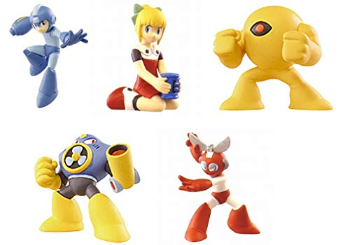 TOMY Mega Man Rock Man Set 5 Figuras Colección 5cm Megaman Roll Cut Man Air Man Yellow Devil Gashapon Japón Japan