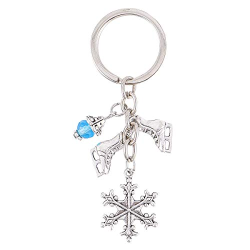 ABOOFAN Schlüsselanhänger mit Schneeflocken-Anhänger, Metalllegierung, für Weihnachten