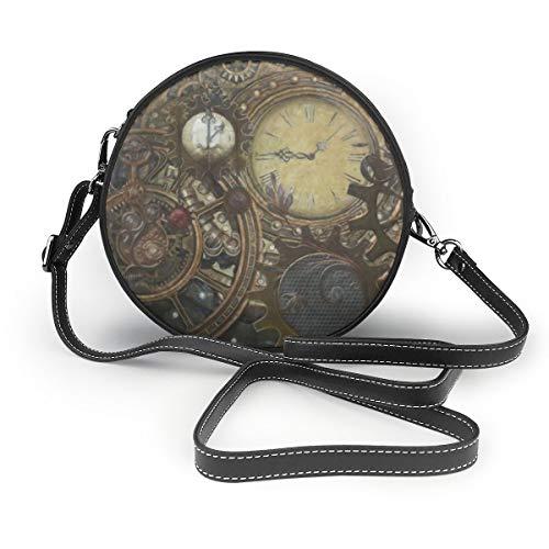"""Damen-Umhängetasche, Motiv """"American Civil War"""", runde Umhängetasche, Handtasche, kleine Geldbörse, Schule, Arbeit, Blau - Steampunk Uhren - Größe: Einheitsgröße"""