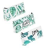 LJY 3 piezas de cuero sintético patrón de hojas de palma tropicales soporte de lápices bolsa de papelería bolsas para la escuela oficina cosmética maquillaje organización