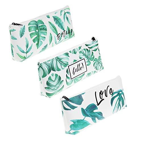 Federmäppchen aus PU-Leder mit tropischem Palmenblatt-Muster, 3 Stück, Beutel für Stifte, Schule, Büro, Kosmetika, Make-up