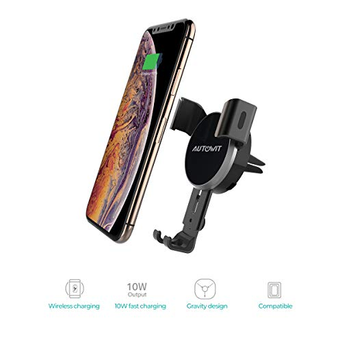 Autowit Wireless Air Vent Gravity Car Charger Universal Phone Holder Fast Charging Mount 10W/7.5W for iPhone X/8/ 8Plus Samsung Note5, Note 8, Galaxy S6 Edge+, Qi Enabled Devices, Black