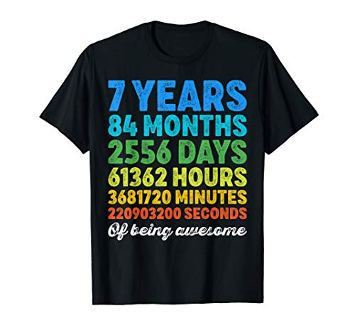 7 Years Old 7th Birthday Shirt Vintage Retro Countdown T-Shirt