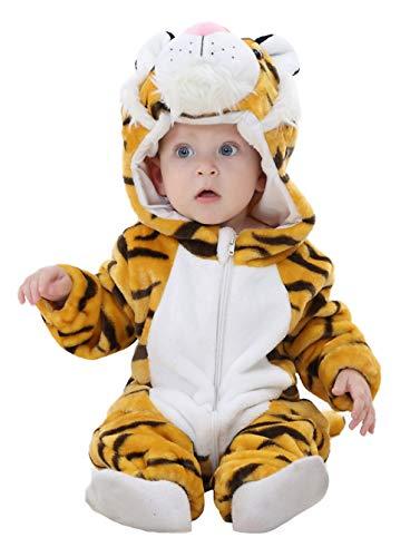 EOZY Pagliaccetto Neonato Unisex Invernale Bimba Tuta con Cappuccio Tutina Fumetto Outfits Pigiama Tigre Petto 65cm