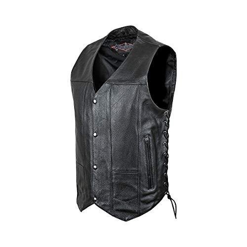 Street & Steel 2nd Amendment Men's Leather Vest, Black, 2XL