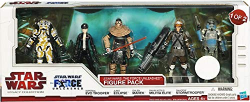 Star Wars Legacy Collection The Force Unleashed, paquete de 5 unidades Imperial Evo Trooper, Juno Eclipse, Galen Marek, Milicia Elite y Shadow Stormtrooper