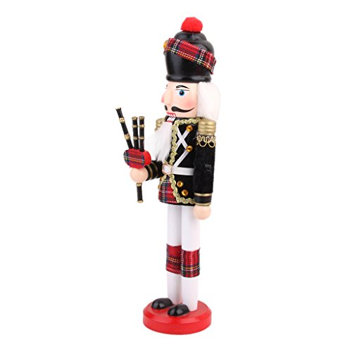 Handmade Home Decor Ornaments Cute Wooden Nutcracker solider Soldier with Bagpipes On Left Hand Gift Collectibles