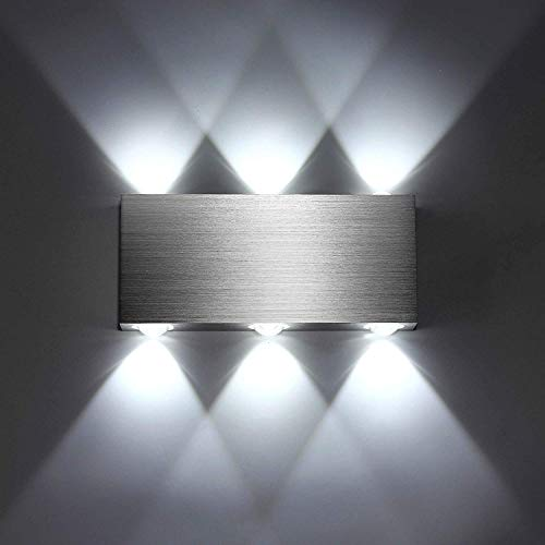 SISVIV Apliques de Pared Puro Aluminio 6 LED 6W Lámpara de Pared Interior Luz Para Dormitorio Escalera Blanco Frío