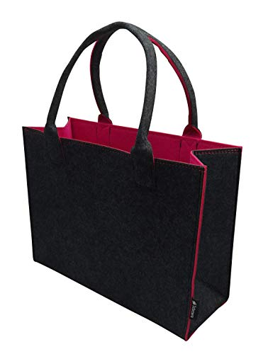 Tebewo Shopping-Bag aus Filz, große verschließbare Einkaufs-Tasche mit Henkel, Einkaufskorb, Faltbare Kaminholztasche zur Aufbewahrung von Holz, vielseitige Tragetasche, Farbe grau/Magenta
