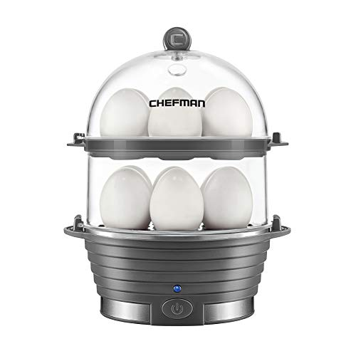 Chefman Electric Egg Cooker Boiler, Rapid Egg-Maker & Poacher, Food & Vegetable Steamer, Quickly Makes 12 Eggs, Hard or Soft Boiled, Poaching and Omelet Trays Included, Ready Signal, BPA-Free, Grey