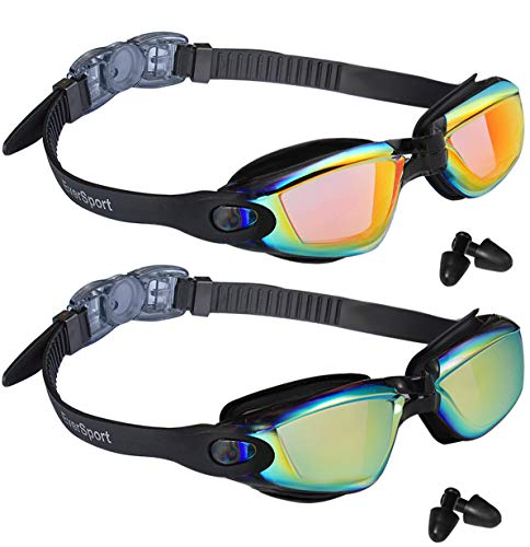 EverSport Swim Goggles, Pack of 2 Swimming Goggles, Swim Glasses No Leaking Anti Fog UV Protection for Adult Men Women Youth Kids Child, Watertight (Black with Aqua Lens&Black with Orange Lens)