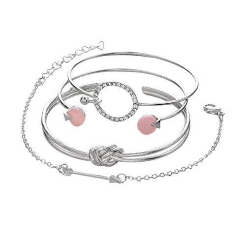 Janly Clearance Sale Pulseras para mujer, 4 juegos de pulseras simples de personalidad femenina, anillo anudado círculo de pulsera, joyería y relojes para Navidad, día de San Valentín (plata)