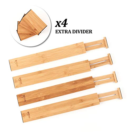 HITEM Bamboo Drawer Organizers - Set of 4 Expandable and Stackable Dividers and 4 Inserts with EVA Pads - Spring-Loaded for Secure, Customizable Fit - Perfect for Cutlery, Tools, Dressers, Storage