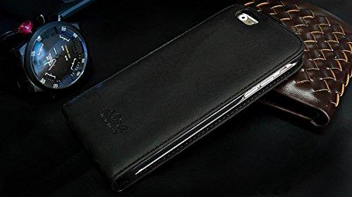 Akira Hand Made [Echt Leder] Handyhülle kompatibel mit Apple iPhone 6 Plus / 6S Plus 5.5 Flip Cover Handgemacht Case Schutzhülle Etui Flip Wallet Pen Schwarz