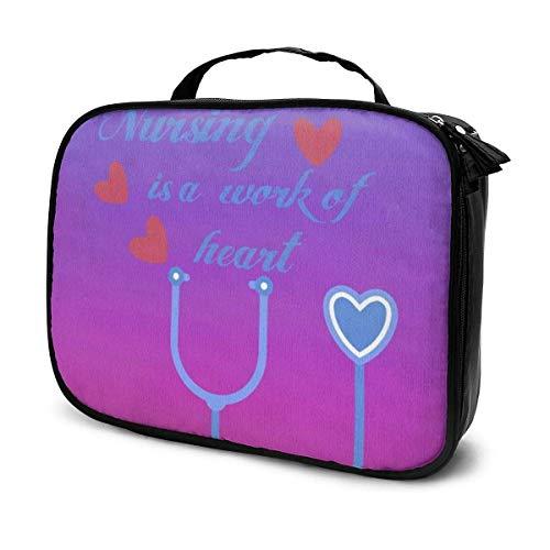 El cuidado de enfermería es un trabajo del corazón; bolsa de maquillaje portátil para mujeres y niñas.