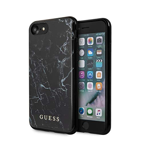 Guess Marble Sku-2024Ccfd Cover per iPhone Se 2020/8/7, Colore: Nero