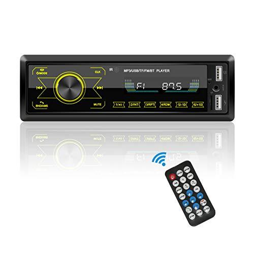 Radio Coche Bluetooth, Estéreos de Coche Podofo 1 DIN con 2 Puertos USB / TF / AUX y Reproductor de MP3 para Coche, Radio FM de 4x60 W, Soporte para Teléfono iOS y Android, Control Remoto Inalámbrico