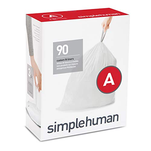 simplehuman Code A Custom Fit Drawstring Trash Bags, 4.5 Liter / 1.2 Gallon, 90 Pack, White, 90 Count
