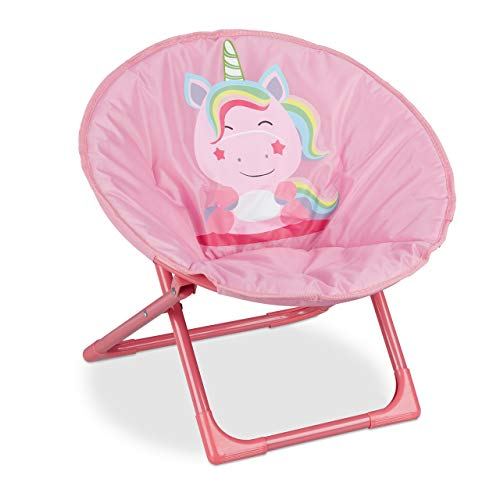 Relaxdays Moon Chair, Sedia Pieghevole Ultraleggera per Bambini & Bambine, Interni & Esterni, Poltroncina, Unicorno Rosa, Metallo, 1 Pezzo
