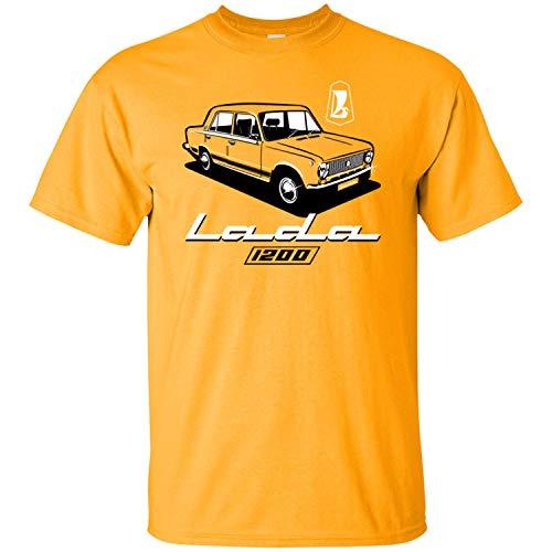 Lada, 1200, Soviet Union, Car, CCCP, Kopeyka, USSR, VAZ-2101 Men's T-Shirt,Gold,M