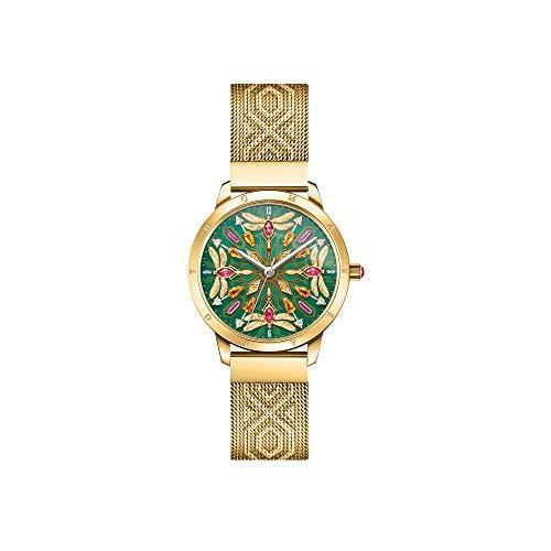 THOMAS SABO Reloj de mujer caleidoscopio libélula plateado verde acero inoxidable oro amarillo WA0369-264-211