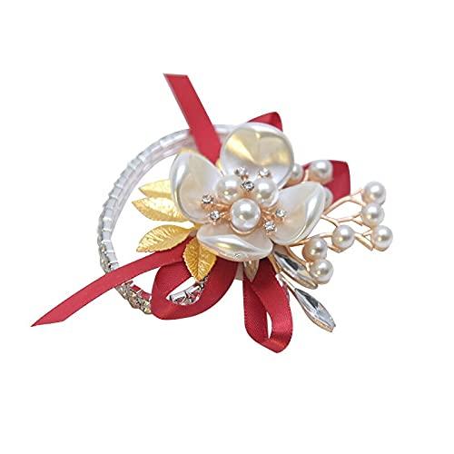 XiaoYing Accesorios de boda Pulsera de flores de imitación de concha de cristal de la muñeca de la flor de la boda de la dama de honor accesorios de baile de fin de curso (color