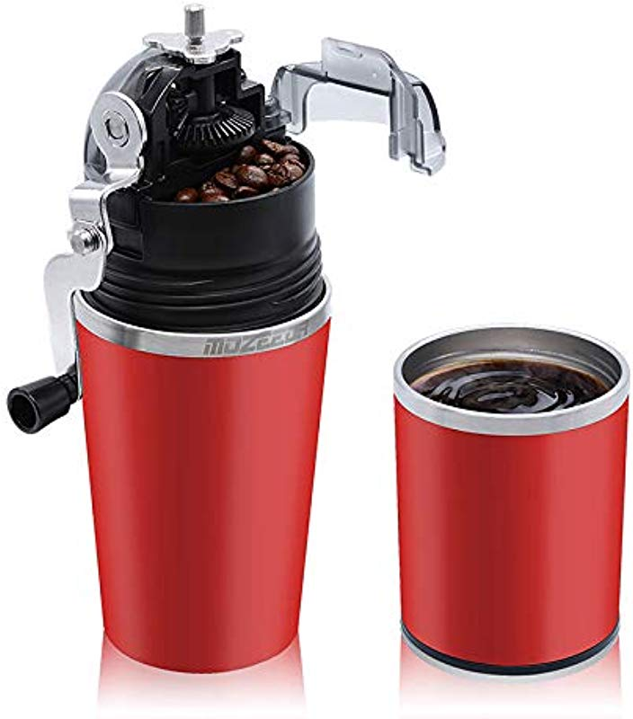 MOZEEDA Portable Manual Coffee Grinder 2 In 1 Stainless Steel Coffee Maker With Filter For Travel Camping Office Outdoors