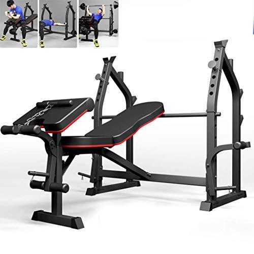 HAOYF Faltbare Hantelbank Heim-Fitnessgeräte Langhantelablage Bankdrückbank Kniebeugen Rack Brust Expander Gewicht Training Ausrüstung