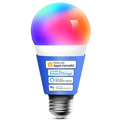 Smart WLAN Glühbirne funktioniert mit Apple HomeKit, Meross Wifi Lampe LED Mehrfarbige Dimmbare Glühbirne kompatibel mit Siri, Alexa, Google Home und SmartThings, E27 Warmweiß