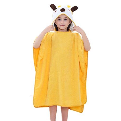 MICHLEY Kapuzen babydecke handtuch Kinder Bade Poncho Mädchen Bademantel Baumwolle Tier Badetücher für 2-6 Jahre(Giraffe), 70x70cm