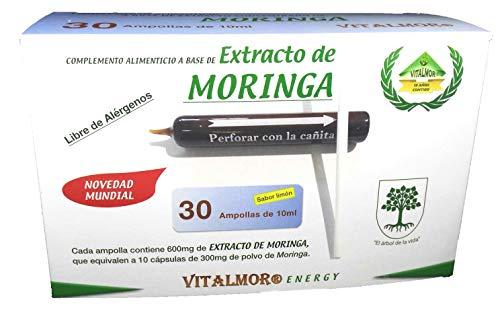 VITALMOR EXTRACTO CONCETRADO DE MORINGA, con todos los Aminoácidos Esenciales en 30 Ampollas bebibles. Tratamiento para 30 días.