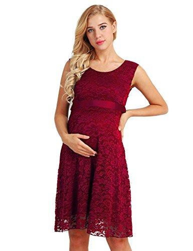 iEFiEL Damen Umstandskleid festlich aus Spitze Ärmellos Maternity Schwangerschaftskleid Elegant Trägerkleid Fotoshooting Weinrot 38