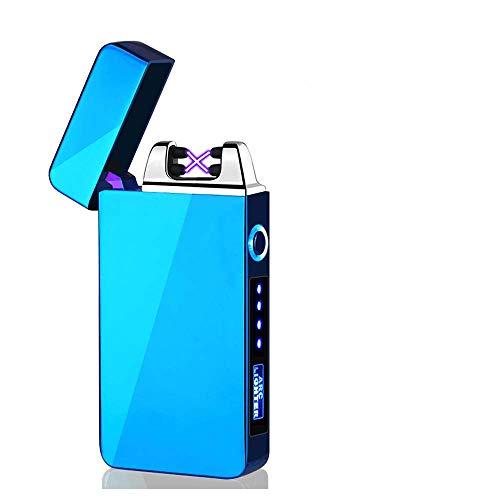 KIPIDA Elektronische Feuerzeug USB, Lichtbogen Feuerzeug, Touchscreen Elektro Feuerzeug LED Dual Lichtbogen ARC Feuerzeug mit Batterieanzeige Winddicht Plasma Feuerzeug für Männer Damen Geschenk