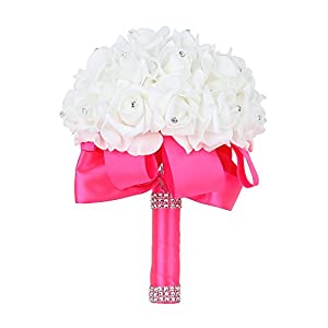 Wedding Bouquet, Febou Bigger Size Bridesmaid Bouquet Bridal Bouquet with Crystals Soft Ribbons, Artificial Rose Flowers for Wedding, Party and Church (Deep Pink)