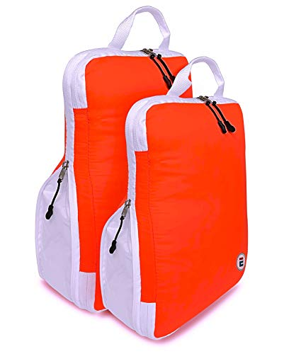 Compression EVEK Packing Cubes Organizers Set of 2 Travel Cube Bag Organizers for Luggage Suitcase Carry on (White&BrightSalmon)