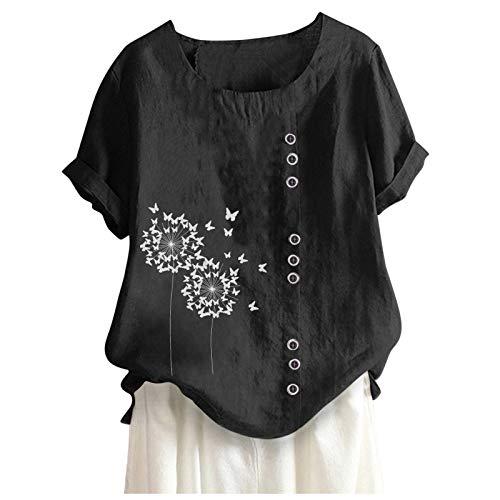 Frauen Lässiges Leinenoberteil mit losen Knöpfen drucken Plus Size Bohemia T-Shirt Blusen Tuniken T Shirts Teenager MäDchen Festliche Blusen Damen Bluse Damen Sexy